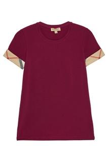 Бордовая футболка из хлопка Burberry