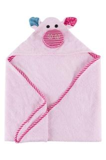 Розовое детское полотенце с капюшоном Zoocchini