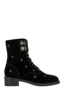 Черные замшевые ботинки с вышивкой Lola Cruz