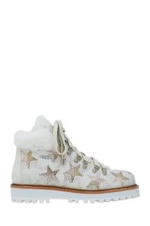 Белые ботинки с мехом и кристаллами Lola Cruz