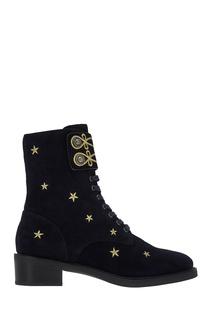 Синие замшевые ботинки с вышивкой Lola Cruz