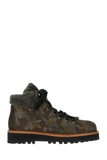 Коричневые ботинки с мехом и кристаллами Lola Cruz
