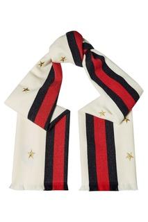 Шерстяной шарф с вышитыми звездами Gucci