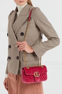 Бархатная сумка на цепочке GG Marmont Gucci