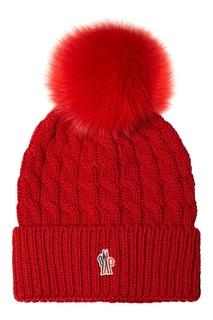 Шапка с косами красная Moncler