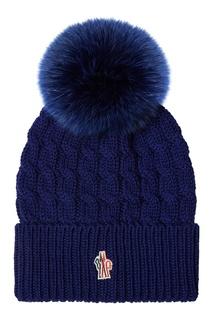 Шапка с косами синяя Moncler