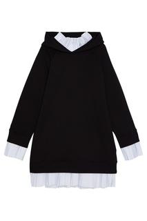 Хлопковое платье-худи с плиссировкой Mm6 Maison Margiela
