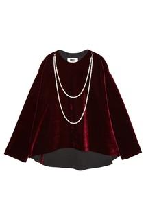 Бархатная блузка с жемчужной отделкой Mm6 Maison Margiela