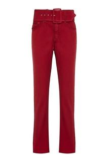 Хлопковые брюки с ремнем красные Mm6 Maison Margiela