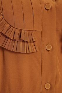 Шелковое платье-рубашка с оборками Rochas