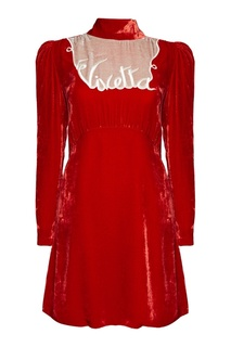 Бархатное платье с логотипом Vivetta