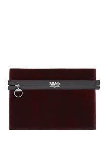 Бордовая бархатная сумка Mm6 Maison Margiela
