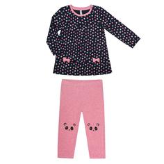 Комплект для девочки: туника и брюки трикотажные для девочки Barkito «Пандочка 1», туника - темно-синяя с рисунком, брюки - розовые