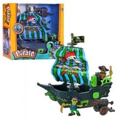 Игровой набор Keenway «Приключение пиратов. Битва за остров» с зелёным парусом