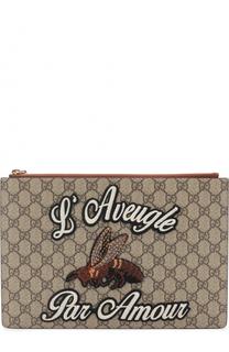 Клатч GG Supreme с аппликацией Gucci