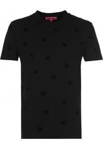 Хлопковая футболка с декоративной отделкой MCQ