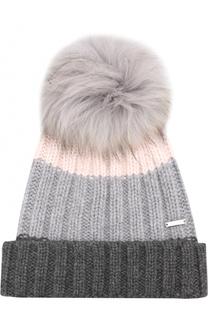 Кашемировая шапка фактурной вязки с меховым помпоном Woolrich