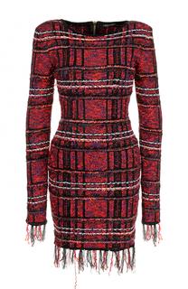 Буклированное мини-платье с длинным рукавом Balmain