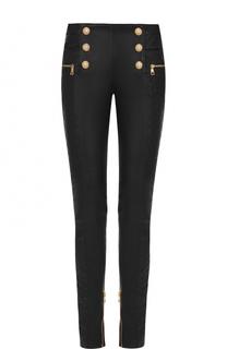 Кожаные брюки-скинни с контрастной отделкой Balmain