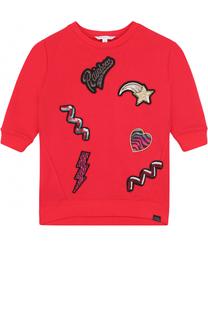 Мини-платье из хлопка и полиэстера с аппликациями и пайетками Marc Jacobs