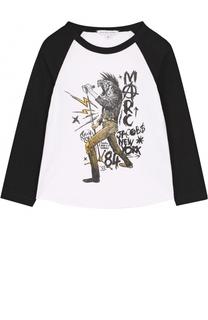 Хлопковый лонгслив с принтом и контрастной отделкой Marc Jacobs