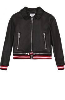 Кожаная куртка с декоративной молнией и эластичными манжетами Givenchy