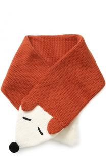 Кашемировый шарф фактурной вязки с меховой отделкой Loro Piana