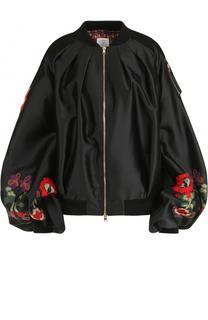 Бомбер с объемными рукавами и вышивкой Stella Jean
