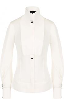 Приталенная шелковая блуза с воротником-стойкой Giorgio Armani