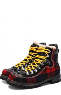 Комбинированные ботинки с принтом в шотландскую клетку Dsquared2