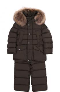 Комплект из пуховой куртки с капюшоном и брюк на подтяжках Moncler Enfant