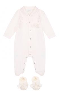 Хлопковый комплект из пижамы с пинетками La Perla