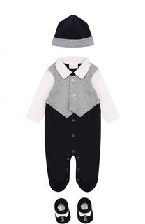 Хлопковый комплект из пижамы с шапочкой и пинеток La Perla