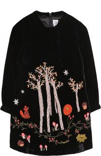 Мини-платье прямого кроя с вышивками Simonetta