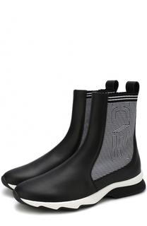 Кожаные ботинки с текстильной отделкой Fendi
