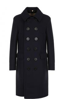 Двубортное шерстяное пальто с отложным воротником Burberry