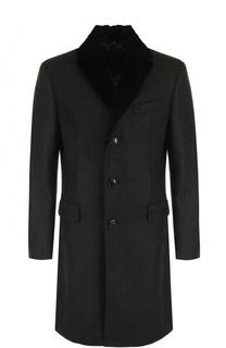 Однобортное пальто из смеси шерсти и кашемира с меховым воротником Pal Zileri