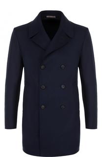 Двубортное шерстяное пальто с отложным воротником Armani Collezioni