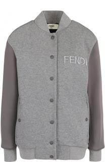 Однотонный хлопковый бомбер с логотипом бренда Fendi