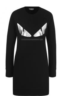 Приталенное мини-платье с длинным рукавом Fendi