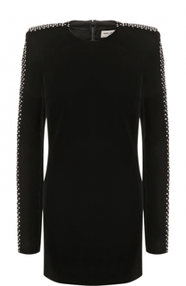 Бархатное мини-платье с длинным рукавом Saint Laurent