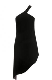 Бархатное мини-платье асимметричного кроя Saint Laurent