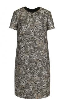 Жаккардовое мини-платье с круглым вырезом Escada