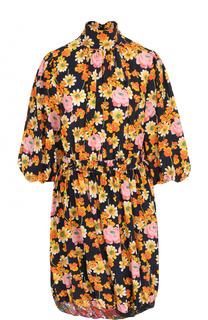Шелковое мини-платье с принтом и укороченным рукавом Joseph