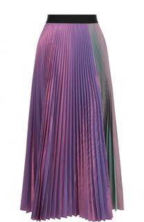 Плиссированная юбка-миди с контрастным поясом Christopher Kane