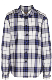 Хлопковая блуза в клетку с погонами Burberry