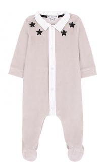 Хлопковая пижама с контрастной отделкой и аппликациями Givenchy