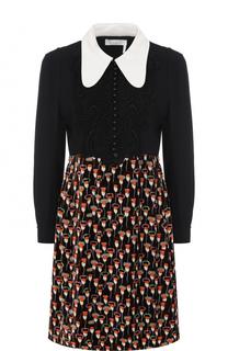 Мини-платье с принтованной юбкой и завышенной талией Chloé