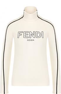 Шерстяной приталенный свитер с высоким воротником Fendi