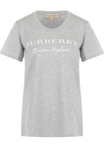 Хлопковая футболка с круглым вырезом и логотипом бренда Burberry